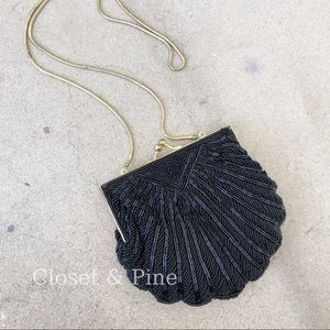 Vintage Clam Shell Beaded Evening Bag Clutch Black